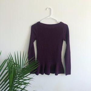 100% Merino Wool Tory Burch Maroon Peplum Sweater